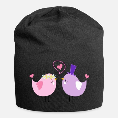 Bird Heart I love you Valentine's Day for couples - Jersey Beanie