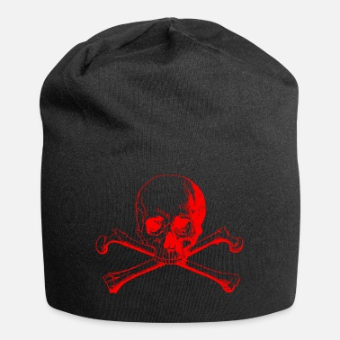 Red Cross Skull with crossed bones in red - Jersey Beanie