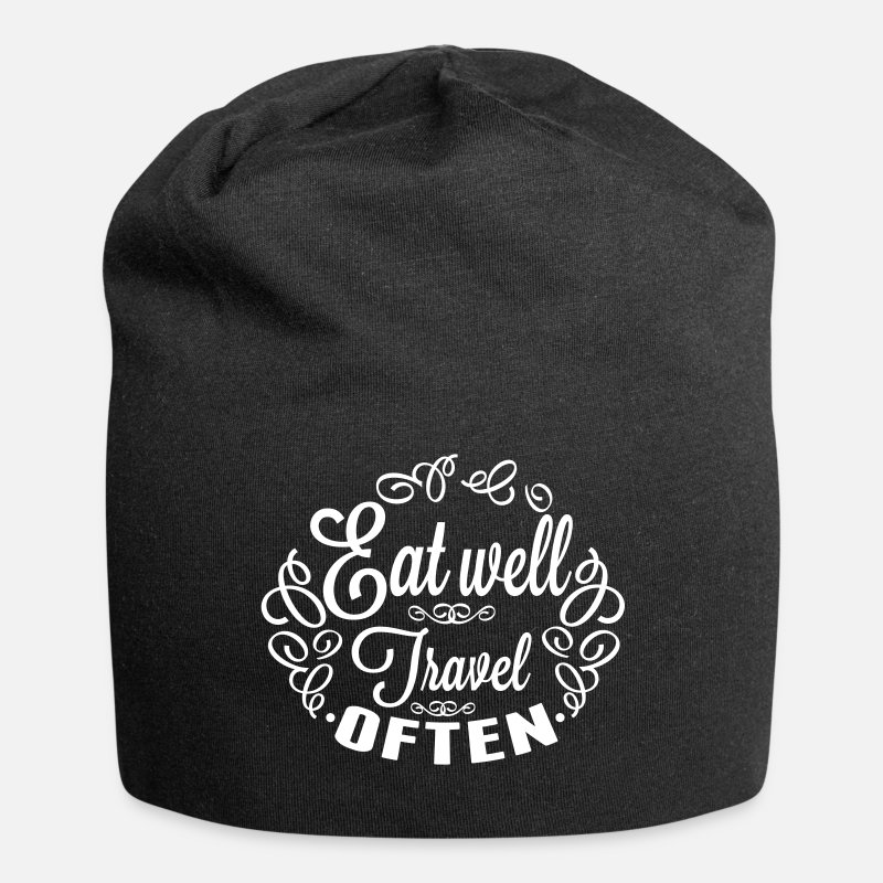 Typografi Kasketter & Huer - Spis Travel Well ofte - Beanie sort