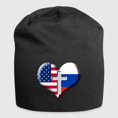 USA and Russia Heart with Cross - Jersey-beanie