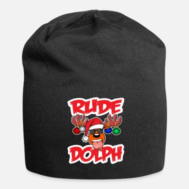 Rude Rude Dolph Christmas Rowdy - Beanie in jersey