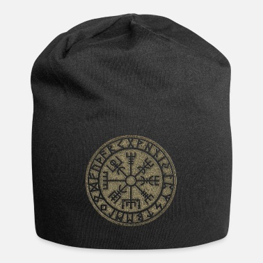 Knot Vegvisir Futhark runes, Viking magic protection icon - Jersey Beanie