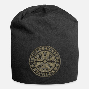 Celtic Knot Vegvisir Futhark runes, Viking magic protection icon - Jersey Beanie
