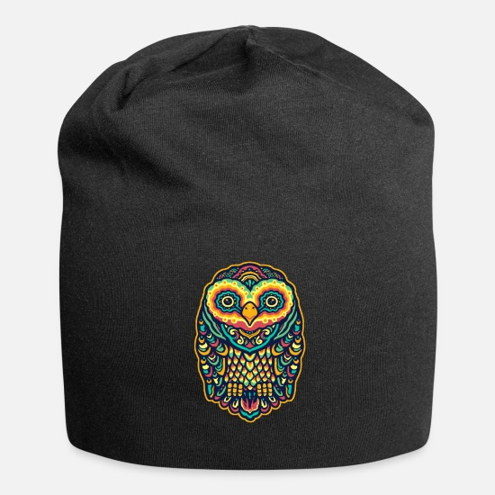 Gift Idea Caps & Hats - Colorful owl - Beanie black