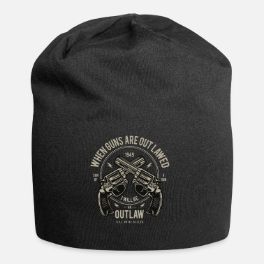 Outlaw Revolver gun weapon knife Christmas gift - Jersey Beanie