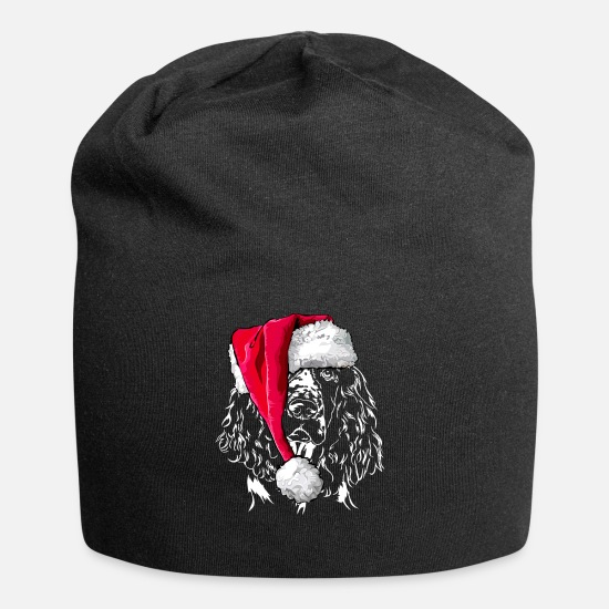 Dog Owner Caps & Hats - ENGLISH SPRINGER SPANIEL Christmas - Beanie black
