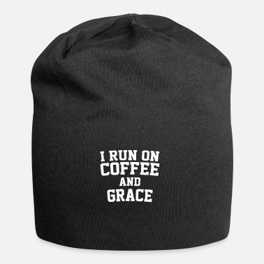 Bible Verse I Run On Coffee And Grace Christian Bible Verse - Jersey Beanie