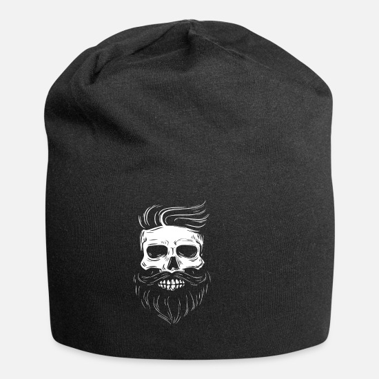 Beard Caps & Hats - Hipster skull with hipster hair and mustache - Beanie black