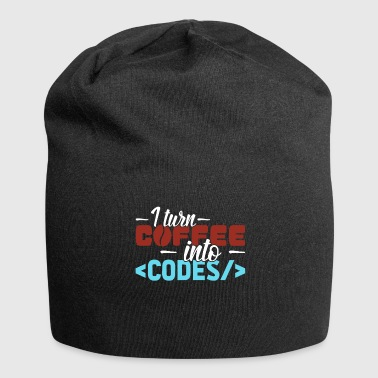 I turn Coffee into Codes computer scientist saying - Jersey Beanie