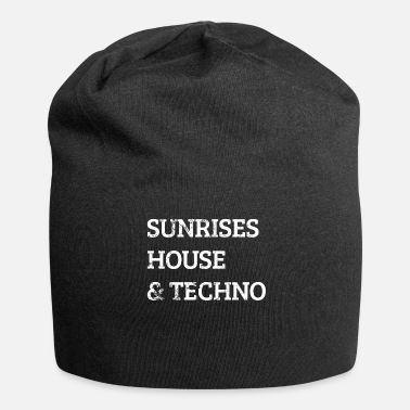 Techno Music Sunrises House Music and Techno - Czapka krasnal z dżerseju