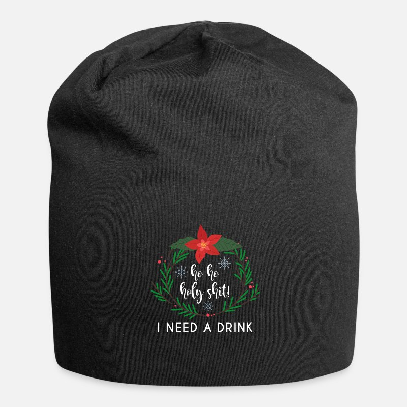 Christmas Caps   Hats - Christmas Funny Saying Wreath Funny - Beanie black 76204a5ead0