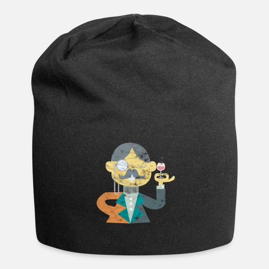 Alcohol Caps & Hats - Art gentleman with monocle and beard gift - Beanie black