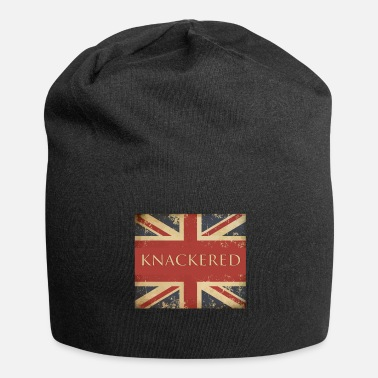 British Funny British Slang Gift with Union Jack Flag |Knackered - Jersey Beanie