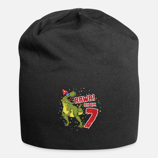 Birthday Caps & Hats - 7th Birthday Dinosaur Birthday Gift - Beanie black