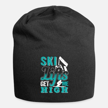 Ski Lift Ski Lifts Get Me High | Skiing Lover - Jersey Beanie