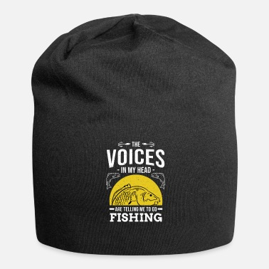 Fish Head Funny Fishing The Voices in my Head Fisherman Fish - Jersey Beanie