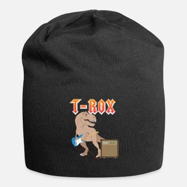 Funny &amp T-Rox T-Rex rocks with guitar Dino music gift - Beanie