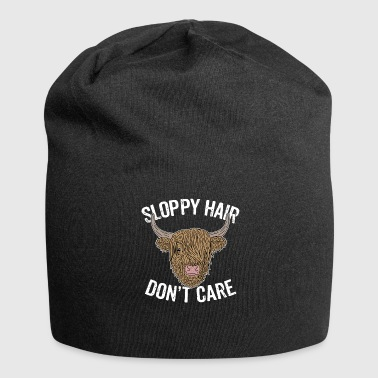 Highland Highland highland cattle cow hairstyle hair humor - Jersey Beanie