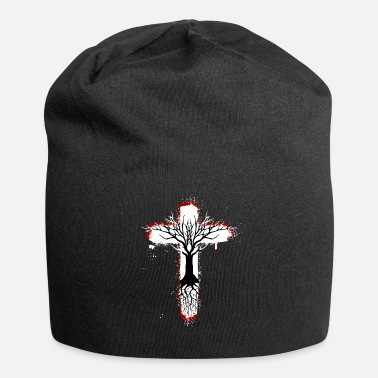 Red Cross Tree of Life with Cross (Red) - Jersey Beanie