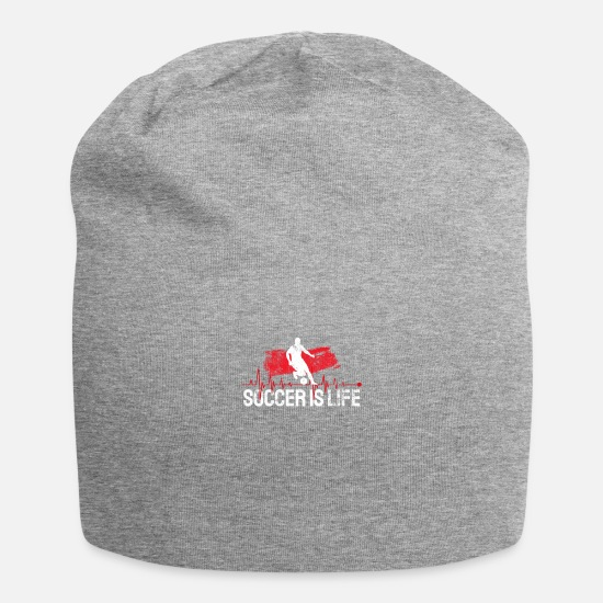 Soccer Caps & Hats - Football Soccer footballer footballer heartbeat - Beanie heather grey