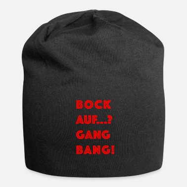 Gangbang Cool gangbang flirt party sayings in red - Jersey Beanie