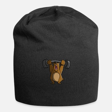 Lifting Gym bear lifting weights - Jersey Beanie