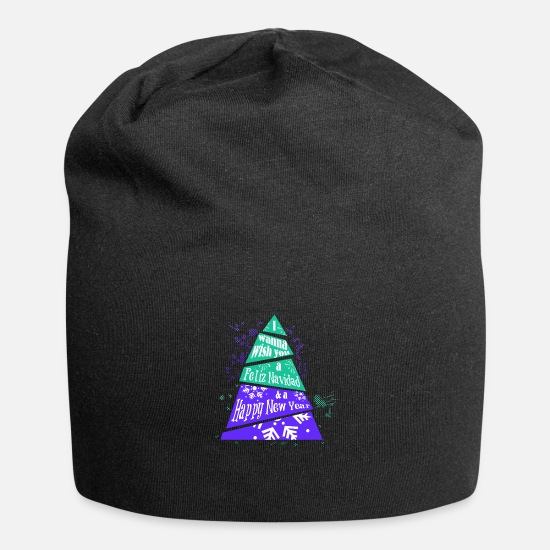 Happy New Year Caps & Hats - i wish you a feliz navidad - Beanie black
