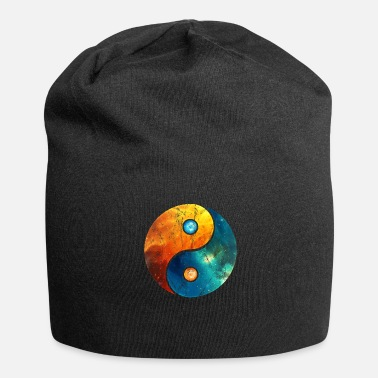 Yang Vintage yin yang elements sign icons galaxy - Jersey Beanie