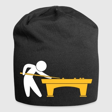 A Pool Player Is On The Pool Table - Jersey Beanie