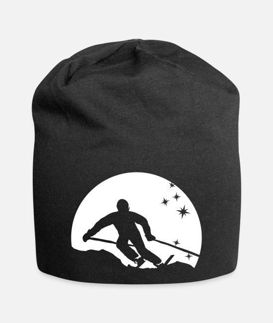 Ski Caps & Hats - ski resort skies ski area skiing - Beanie black