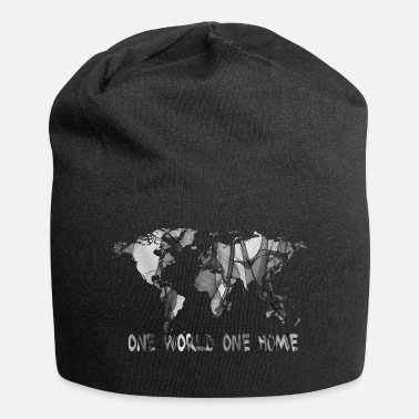 World One World One Home peace weltkarte - Beanie