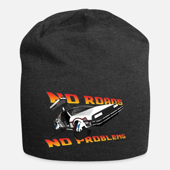 Back To The Future Petten & mutsen - Delorean tijdmachine reistijd terug in de tas - Beanie houtskool