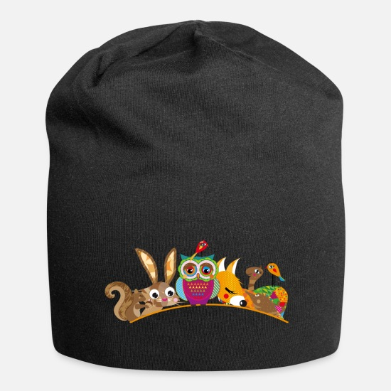 Nice Caps & Hats - eight forest animals - Beanie black