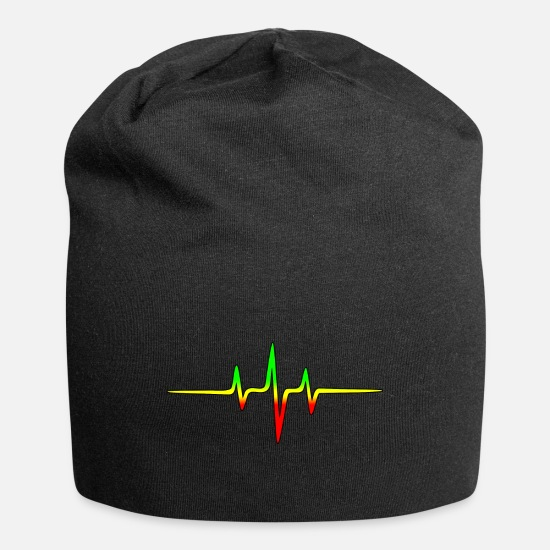 Music Caps & Hats - Reggae, music, notes, pulse, frequency, Rastafari - Beanie black