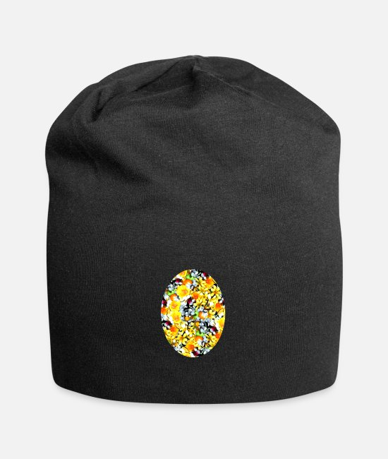Easter Caps & Hats - Easter, oval design. - Beanie black