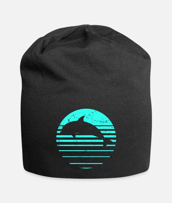 Marine Animal Caps & Hats - Dolphin dolphins retro - Beanie black
