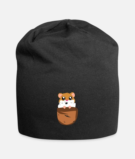 Beady Eyes Caps & Hats - Hamster rodent gift - Beanie black