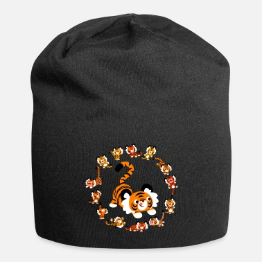 Doux Cute Cartoon Tigers Mandala by Cheerful Madness!! - Beanie