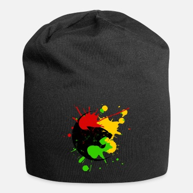 Dancehall Reggae Panther splashes of color Black Music Rastafari - Beanie