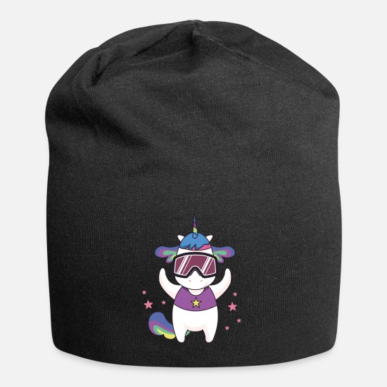 Ski Caps & Hats - Unicorn goggles comic - Beanie black