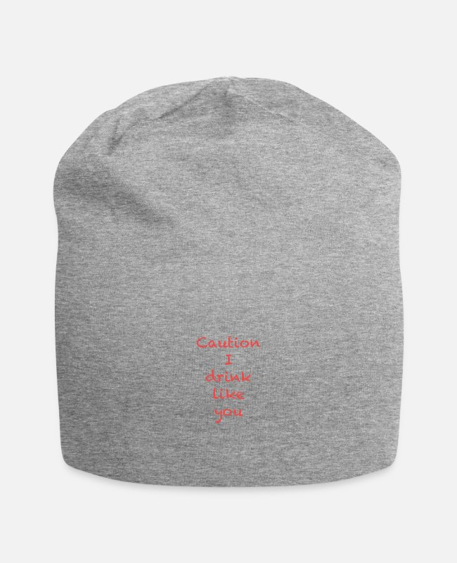 Drink Team Caps & Hats - Caution I drink like you (red) - Beanie heather grey
