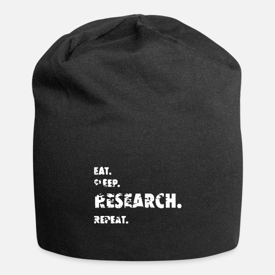 Distressed Caps & Mützen - Eat. Sleep. Research. Repeat. | Doktoranden Mott - Beanie Schwarz