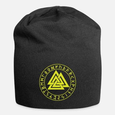 Mythology Wotansknoten Valknut In the rune circle Futhark - Beanie