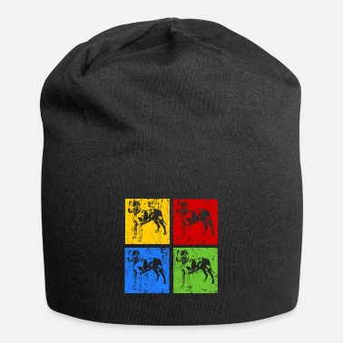 Male Puppy Dog Puppy Great Dane Pop Art Retro Grunge Silhouette - Beanie