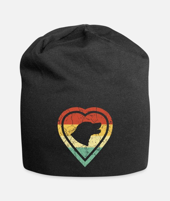 Heart Caps & Hats - Grunge heart retro vintage retriever dog love - Beanie black