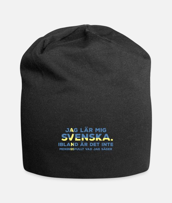 Foreign Language Caps & Hats - Learn Swedish - Beanie black