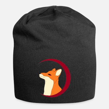 Fox in the red moon, gift - Beanie