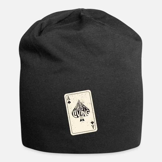 Ace Caps & Hats - Never Trust The Living Ace of Spades Playing Card - Beanie black