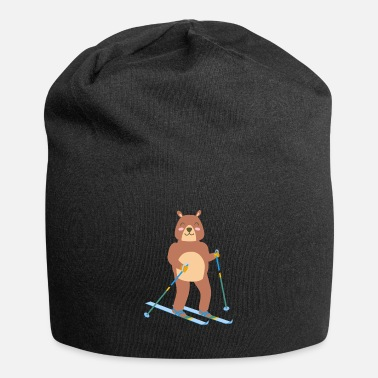 Winter Sports Bear ice skiing cute sport winter gift idea - Beanie