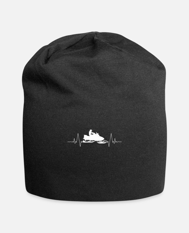 Heart Rate Caps & Hats - Snowmobile heart love heart rate - Beanie black